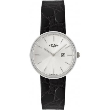 Gents Mens Sterling Silver Rotary Quartz Battery Watch on Black Leather Strap with Date. GS21226/06