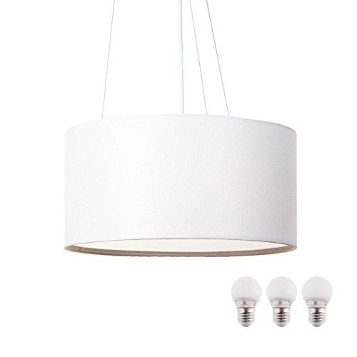 Lámpara de tela para techo, blanca SEBSON, incluyebombilla LED E27, 5W blanco cálido, 40cm de diámetro, lámpara redonda.