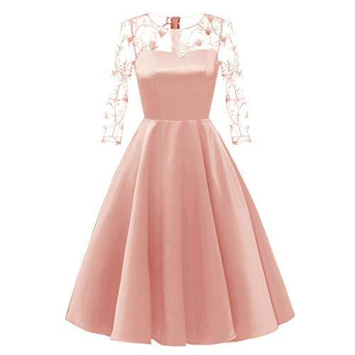 Dorical Kleider Elegant Damen Spitze Tüll Kleider Tutu Rock Party Swing Cocktail Knielang Cocktailkleid Spitzen 2/3 Arm Vintage Kleid Brautjungfer 50er Jahr Abendkleid(Rosa,XX-Large)