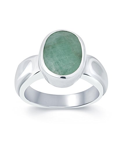 G-Luck Certified Natural Emerald Panna 92.5 Sterling Silver Gemstone Ring For Men & Women