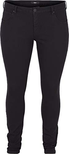 Zizzi Damen Amy Jeans Slim Fit Jeanshose Stretch Hose ,Schwarz,48 / 82 cm