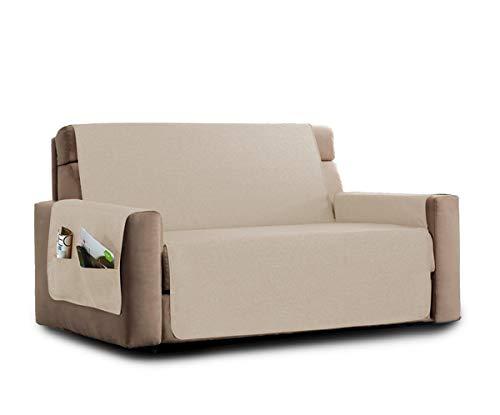 La biancheria di casa elizabeth copri poltrona divano antiscivolo (3 posti, beige) con 2 tasche portaoggetti