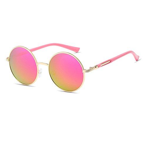 06d62b6173 Qixuan QIXU Gafas de Sol Redondas Mujer Rosa Lente Efecto Espejo  Antirreflejante UV400 Vintage Retro Inspirado