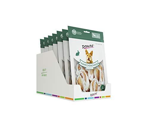 DOKAS Kaninchenohren - Getreidefreier Premium Snack aus 100% Kaninchen für Hunde
