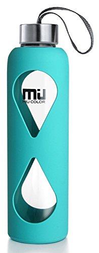 MIU COLOR® 550 ml botella de cristal ecológico, sin BPA portátil Sport botella, antigoteo de acero inoxidable tapón botella con funda de nailon (Azul)