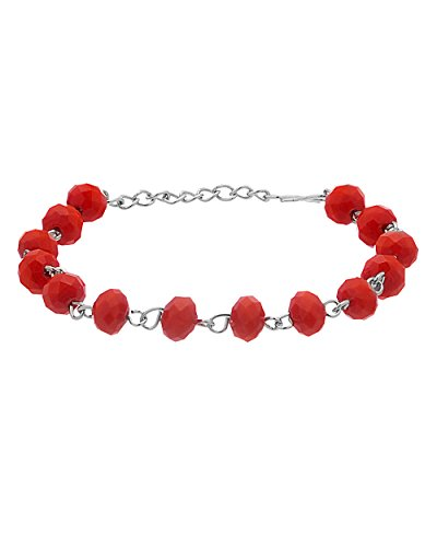 Voylla Red Stone Studded Beaded Bracelet For Women  available at amazon for Rs.289