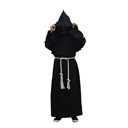 Labellevie Lange Mittelalter Kostüm Robe Mönch-Kostüm Kapuzenmönch Halloween Erwachsener Unisex