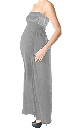 Janisramone Femmes dames Nouveau Sans manches Bandeau Boobtube Plaine Maternité Gather Sheernig Maxi Longue robe Gris