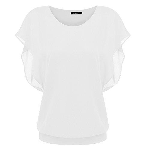 Zeagoo Damen Sommer Casual Loose Fit Kurzarm Fledermaus Batwing T-Shirt Shirt Chiffon Top Bluse, EU 40(Herstellergröße:L), Weiß
