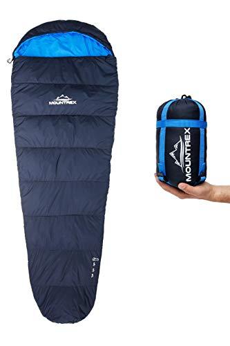 MOUNTREX® Schlafsack - Kleines Packmaß & Ultraleicht (720g) - Outdoor Sommer Schlafsack (100GSM), Mumienschlafsack (205x75cm) - Kompakt, Warm und Leicht für Camping, Reise oder Festival - Koppelbar