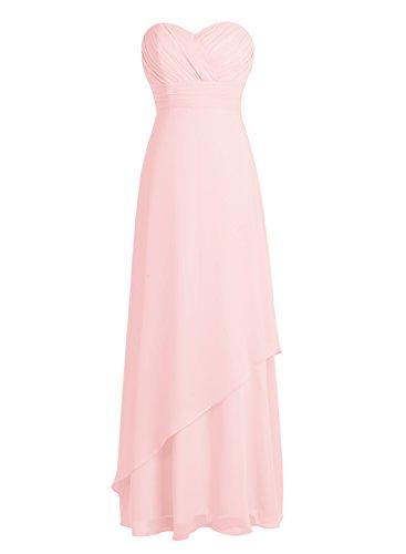 Bbonlinedress Robe de cérémonie Robe de demoiselle d'honneur en mousseline longueur ras du sol Rose