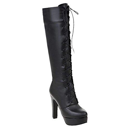 Mee Shoes Damen Plateau Schnürsenkel langschaft high heels Stiefel Schwarz