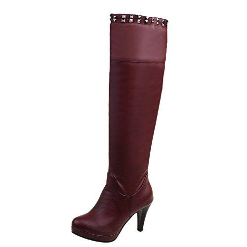 Mee Shoes Damen high heels Plateau runde langschaft Stiefel (36, Rot)
