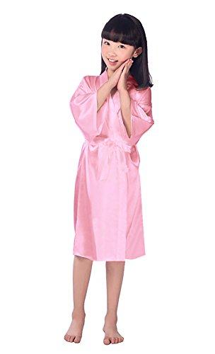 Robe de Chambre Uni Peignoir de Nuit Long kimono Enfant Fille