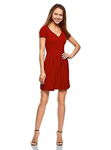 oodji Ultra Damen Kleid aus Festem Stoff mit V-Ausschnitt und Reißverschluss am Rücken, Rot, DE 42 / EU 44 / XL