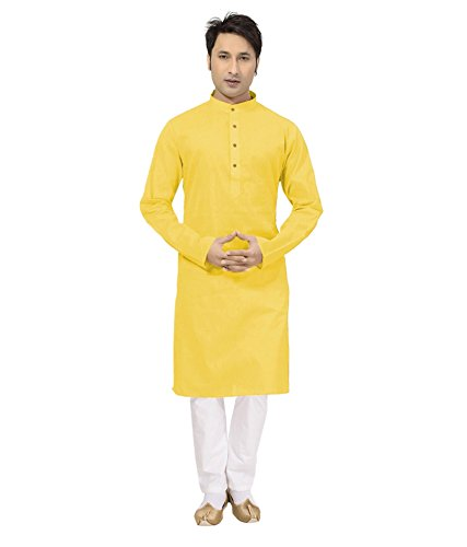 Sai-Chikan-Mens-Long-Yellow-Kurta