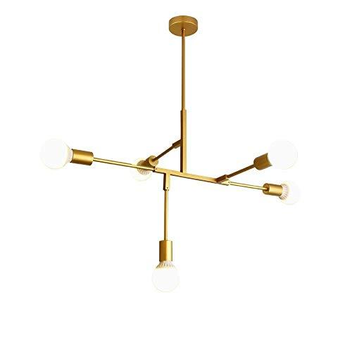 WSXXN 5 Licht einstellbare Kronleuchter Anhänger Gold Steampunk Kronleuchter rustikale Deckenleuchte Unterputz für Küche Esszimmer Flur Foyer