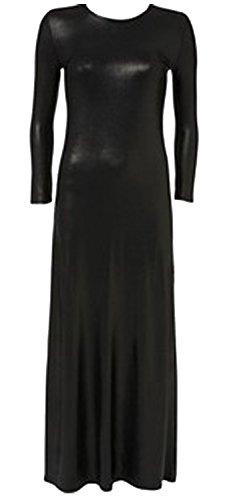 Nouveau Femmes Plus Size Long Plain Jersey Col rond Robe 36-54 Wetlook