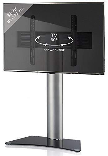 "VCM TV Standfuß LED Ständer Rack Fernseh Standfuss Aluminium Glas Universal VESA Schwenkbar Inklusive Rollen ""Zental"""