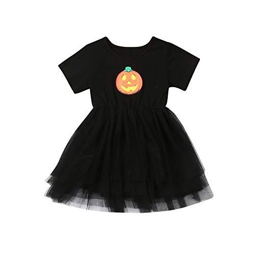 Chloefairy Baby Halloween Kostüm Tutu Kleid mit Kürbis Muster Kurze Ärmel Einfarbig Rock Festlich Baumwolle Neugeborenes Baby Bekleidung für 6-12 Monate 3 Jahre alt Mädchen Hochzeit (Schwarz, 80) (6 9 Monate Kürbis Kostüm)