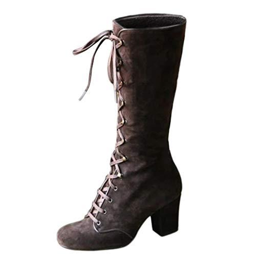COZOCO Schnürstiefel Damen Vintage Mid-Calf Stiefel Schnürung Dicke Ferse Schuhe Runde Zehen Quadrat Ferse Retro Stiefel Hohe Stiefel(Braun,37 EU)