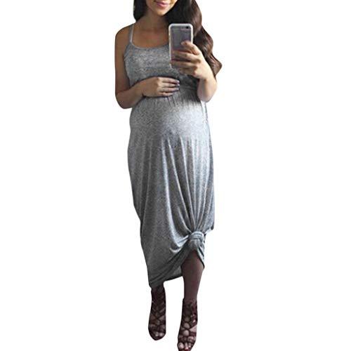 Grau Umstandskleid (Amoyl Damen Umstandskleider Sommer Ärmellose Elegante Fotografie Lange Maxi Kleider Urlaub Rock Sommerkleid Schwangerschaftskleid (Grau, XL))