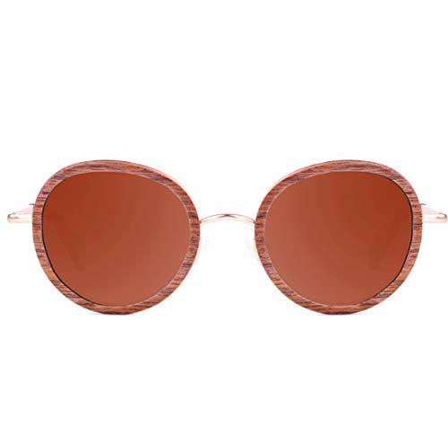 Yiph-Sunglass Sonnenbrillen Mode Exquisite Kleine Runde Stil Handgefertigte männer Metall und Holz Polarisierte Sonnenbrille, Hohe Qualität TAC Objektiv UV Schutz Fahren Angeln Strand Sonnenbrille