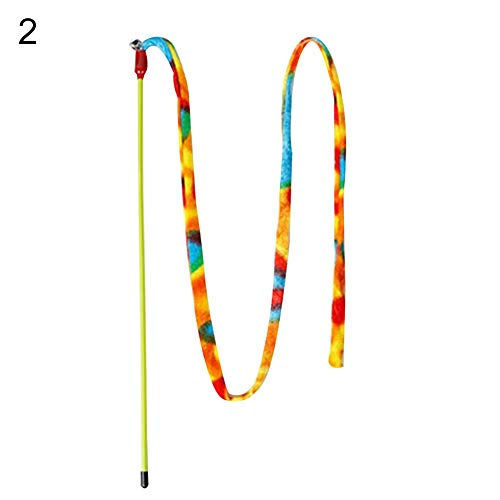strimusimak Rainbow Leopard Dangler Pet Cat Teaser Wand Rod Bell Kitten Play Chaser Toy - Rainbow Chaser Leopard