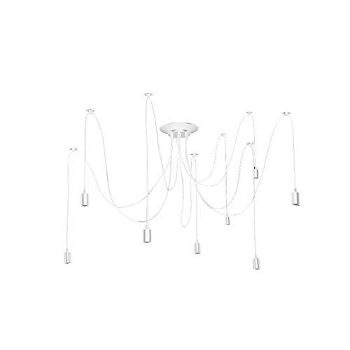 CloudWhisper Industrielüster/Deckenleuchte, modernes Design, verstellbar, Spinnen-Design, ohne Leuchtmittel, metall, weiß, 8 Lights