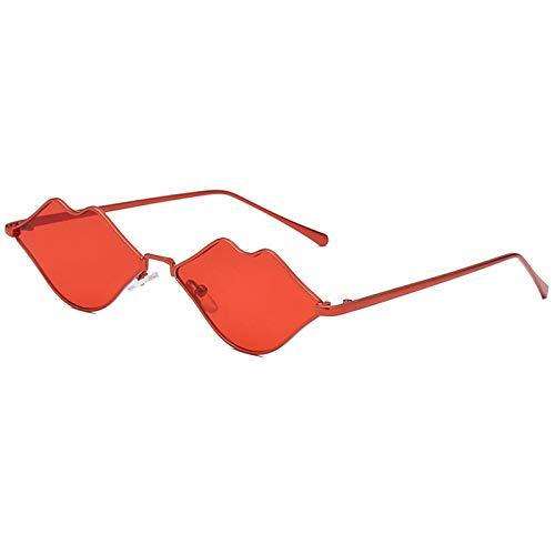XZANTE Kleine Lippen Form Sonnenbrille Frauen Neu Sex Mund Designer Sonnenbrille Herz Shades (Rot)