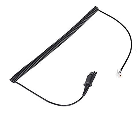 4Call HQCM10 Polaris QD to RJ Quick Disconnect Cable U10 Coiled for Plantronics Headset to M10 M22 Vista Adapter and AT&T CallMaster V VI & Cisco Unified Office Telephone IP Phones 7941G
