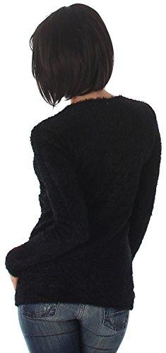 Luxestar - Pull doux & moelleux - Col V - Femme - Taille unique (36/38/40/42) Noir