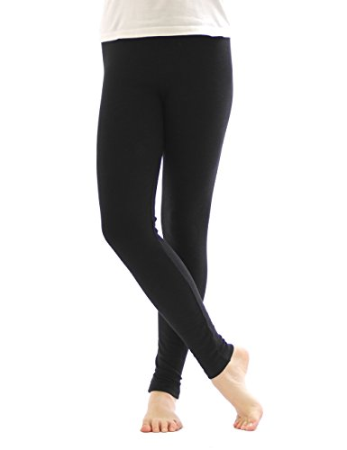 Thermo Leggings leggins Hose lang aus Baumwolle Fleece warm dick weich schwarz L (Baumwolle Leggings Thermo)