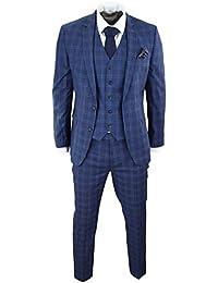 Harry Brown Abito da Uomo Blu Navy A Scacchi Classico 3 Pezzi Vestibilita   Slim 5c1d5674acc