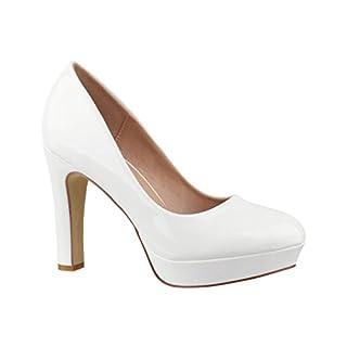 Elara Plateau Pumps | Bequeme Damen High Heels | Abend Schuhe Lackoptik | Chunkyrayan | E22322 White-39