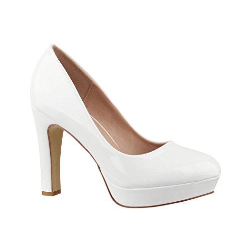 Bequeme High Heel-schuhe (Elara Plateau Pumps | Bequeme Damen High Heels | Abend Schuhe Lackoptik | Chunkyrayan | E22322 White-37)