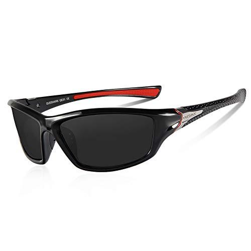 Queshark Gafas de Sol Deportivas Polarizadas Para Hombre Perfectas Para Esquiar Golf Correr Ciclismo TR990 Súper Liviana Para Hombre y Para Mujer (Negro)