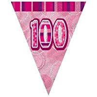 100TH BIRTHDAY BUNTING (NEW UNIQUE PINK hol) 12FT LONG by Every-occasion-party-supplies