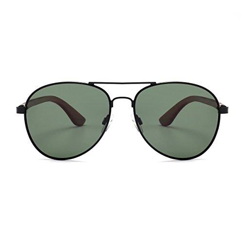 LEMIEL® Frank - Die ÖKO Pilotenbrille - Sonnenbrille aus Holz - Damen und Herren - Fliegerbrille mit Bügel aus Rosenholz - Etui aus Bambus - Polarisierte Holzbrille - UV 400 (Schwarz)