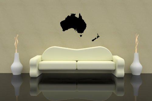 Premium Wandtattoo Wandaufkleber Australien + Neuseeland Karte 100cm x 72cm Motiv: #310 schwarz