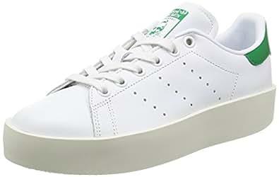 adidas Damen Stan Smith Bold Sneaker, Weiß (Footwear White/Footwear White/Green), 36 2/3 EU