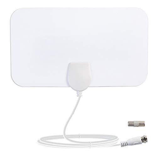 Indoor-TV-Antenne, HD-TV-Antenne, Tragbare TV-Antenne, 50-Meilen-Zoombereich, 4-Meter-Hochleistungskabel-TV - Weiß, 4K HD 1080P Free Channel Support