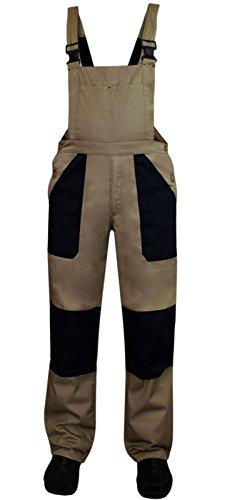 Salopette da lavoro, per muratori e artigiani, in robusto twill, con tasche e ginocchia rinforzate marrone tabacco