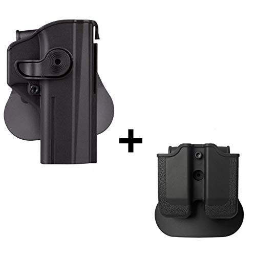 IMI CZ SHADOW 2 Holster + Double magazine pouch, polymer retention 360 roto level 2 safety w trigger guard lock tactical gun holster for CZ P-09 & Shadow2 pistol handgun -