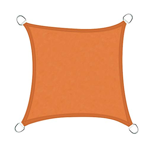 Greenbay Voile d'ombrage Carré | 4x4m Orange | Une Protection des Rayons UV | Toile d'ombrage Auvent Pare-Soleil de Jardin