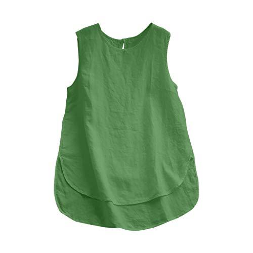 CAOQAO Damen Casual Plus Size Leinen Tops T Vintage Solide Sleeveless Lose Weste Bluse Mode LäSsig Sexy Kurzarm Elegantes Shirt