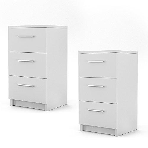 Nachtschrank Nachttisch Kommode Schrank Schlafzimmer Schublade Ablage Sonoma (Weiß)