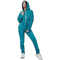Minetom Femmes 2 Pièce Survêtement Combinaison Manches Longues Sweats à Capuche Sweat-Shirt Top + Pantalon Joggers Sport Ensemble Gym Yoga Jogging Suit B Bleu FR 44
