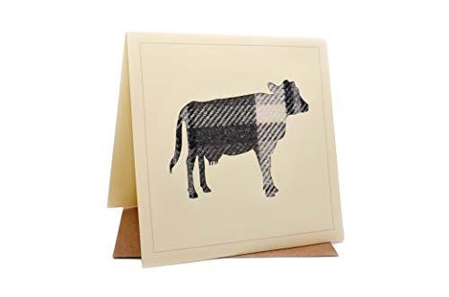 Lambacraft Geburtstagskarte mit Kuh-Design, Tweed, Schottenwolle, Stoffsilhouette, mit blanko Innenseite, 1 Stück - Grußkarten Kuh