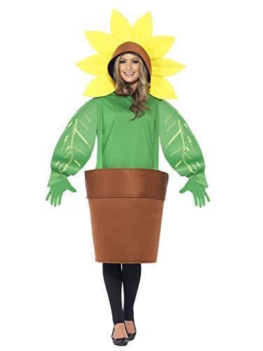 Smiffy's 43409 - Sunflower Kostüm Oberteil mit Kapuze angeschnittene Blumentopf und Handschuhe
